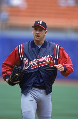 13 May 2001:  Relief pitcher John Rocker #49 of the Atlanta Braves walks out onto the field during the game against the Los Angeles Dodgers at Dodger Stadium in Los Angeles, California. The Dodgers defeated the Braves 3-1.Mandatory Credit: Scott Halleran/