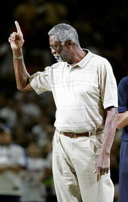SAN ANTONIO - JUNE 12:  NBA legend Bill Russell is introduced to the crowd during the game between the San Antonio Spurs and the Detroit Pistons in Game two of the 2005 NBA Finals at SBC Center on June 12, 2005 in San Antonio, Texas.  The Spurs defeated t