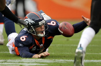DENVER - OCTOBER 12:  Quarterback Jay Cutler #6 of the Denver Broncos fumbles the ball and turns it over as he scrambles against the Jacksonville Jaguars during NFL action on October 12, 2008 at Invesco Field at Mile High in Denver, Colorado.  (Photo by D