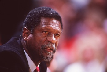 Undated:  Former NBA star Bill Russell during a basketball game.   Mandatory Credit: Allsport USA/ALLSPORT