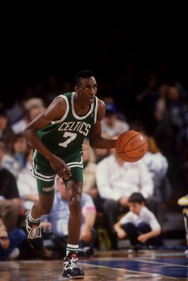 21 Dec 1993: DEE BROWN OF THE BOSTON CELTICS IN ACTION ON THE COURT AGAINST THE NUGGETS