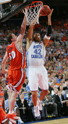 ST. LOUIS - APRIL 04:  Sean May #42 of the North Carolina Tar Heels attempts a slam dunk against Jack Ingram #50 of the Illinois Fighting Illini during the NCAA Men's National Championship game at the Edward Jones Dome on April 4, 2005 in St. Louis, Misso