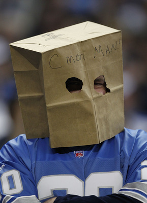DETROIT - DECEMBER 05:  A Detroit Lions' fan shows his fustration during the game between the Detroit Lions and the Chicago Bears at Ford Field on December 5, 2010 in Detroit, Michigan. The Bears defeated the Lions 24-20.  (Photo by Leon Halip/Getty Image