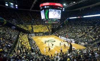 EUGENE, OR - JANUARY 13: General view of the action in the second half of the first game between the USC Trojans and the Oregon Ducks basketball teams at Matthew Knight Arena on January 13, 2011 in Eugene, Oregon. The arena is named  co-founder and Chairm