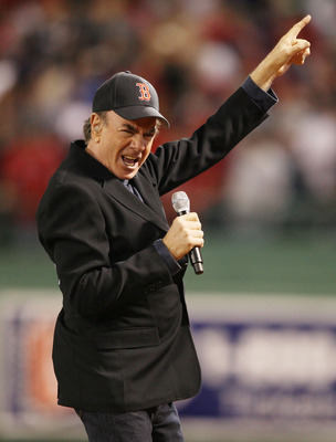 BOSTON - APRIL 04:  Neil Diamond sings his song 'Sweet Caroline' in the eighth inning as the Boston Red Sox play the New York Yankees on April 4, 2010 during Opening Night at Fenway Park in Boston, Massachusetts.  (Photo by Elsa/Getty Images)