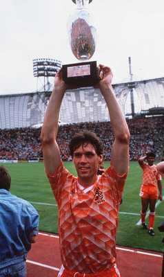 Holland's goalscoring hero Marco Van Basten lifts the European Championships trophy in 1988