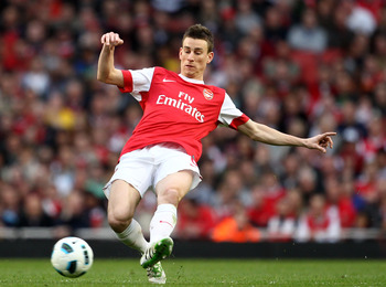 LONDON, ENGLAND - APRIL 02:  Laurent Koscielny of Arsenal on the ball during the Barclays Premier League match between Arsenal and Blackburn Rovers at the Emirates Stadium on April 2, 2011 in London, England.  (Photo by Julian Finney/Getty Images)