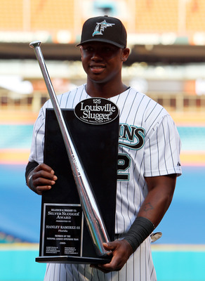 MIAMI - APRIL 09:  Hanley Ramirez #2 of the Florida Marlins accepts his 2009 Louisville Slugger Silver Slugger Award before taking on the Los Angeles Dodgers during the Marlins home opening game at Sun Life Stadium on April 9, 2010 in Miami, Florida.  (Ph