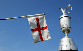 SANDWICH, ENGLAND - APRIL 19:  A general view of the claret jug and a Royal St Georges's pin flag prior to The Royal St George's Open Championship press conference on April 19, 2011 in Sandwich, England.  (Photo by Andrew Redington/Getty Images)