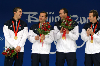 BEIJING - AUGUST 17:  (L-R) Michael Phelps, Brendan Hansen, Jason Lezak and Aaron Piersol of the United States stand on the podium after receiving their gold medals in the Men's 4x100 Medley Relay at the National Aquatics Centre during Day 9 of the Beijin