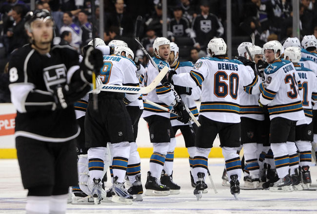 LOS ANGELES, CA - APRIL 19:  The San Jose Sharks celebrate after defeating the Los Angeles Kings 6-5 in overtime of game three of the Western Conference Quarterfinals during the 2011 NHL Stanley Cup Playoffs at Staples Center on April 19, 2011 in Los Ange