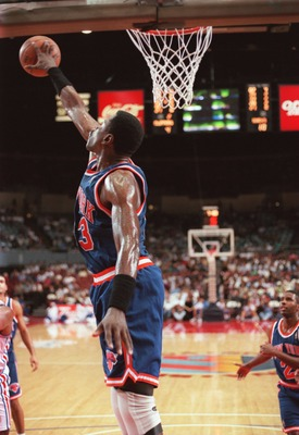 8 Nov 1996:  Center Patrick Ewing of the New York Knicks blocks a shot during the Knicks 88-81 win over the Los Angeles Clippers at the Sports Arena in Los Angeles, California.  Mandatory Credit: Todd Warshaw/Allsport   Mandatory Credit: Todd Warshaw/Alls
