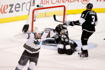 LOS ANGELES, CA - APRIL 19:  Ryane Clowe #29 of the San Jose Sharks celebrates a goal against the Los Angeles Kings in the second period of game three of the Western Conference Quarterfinals during the 2011 NHL Stanley Cup Playoffs at Staples Center on Ap