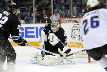 SAN JOSE, CA - APRIL 16: Antti Niemi #31 of the San Jose Sharks makes a save against the Los Angeles Kings in Game Two of the Western Conference Quarterfinals during the 2011 NHL Stanley Cup Playoffs at the HP Pavilion on April 16, 2011 in San Jose, Calif