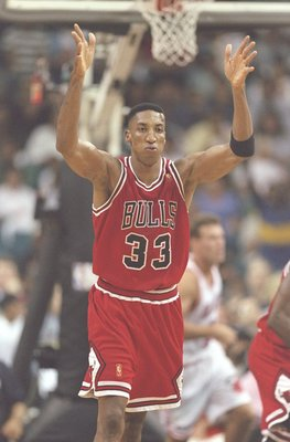 26 May 1997:  Forward Scottie Pippen of the Chicago Bulls runs down the court during a playoff game against the Miami Heat at the Miami Arena in Miami, Florida.  The Heat won the game 87-80. Mandatory Credit: Andy Lyons  /Allsport