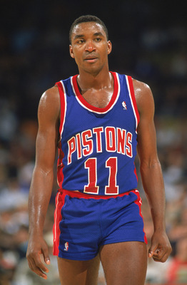 1989:  Isiah Thomas #11 of the Detroit Pistons walks on the court during a game in the 1989-1990 NBA season.  (Photo by Mike Powell /Getty Images)