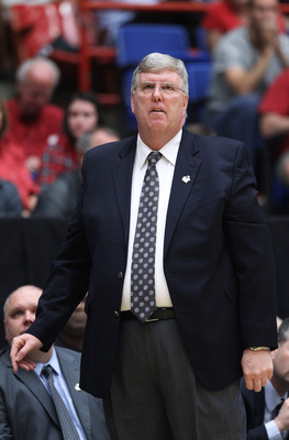 TUCSON, AZ - MARCH 17:  Head coach Stew Morrill of the Utah State Aggies coaches against the Kansas State Wildcats during the second round of the 2011 NCAA men's basketball tournament at McKale Center on March 17, 2011 in Tucson, Arizona.  (Photo by Chris