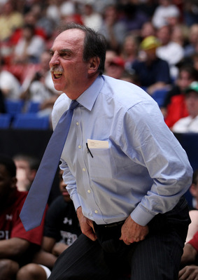 TUCSON, AZ - MARCH 19:  Head coach Fran Dunphy of the Temple Owls yells to his team during their game against the San Diego State Aztecs in the third round of the 2011 NCAA men's basketball tournament at McKale Center on March 19, 2011 in Tucson, Arizona.