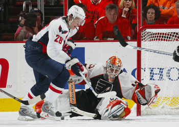 PHILADELPHIA - APRIL 21: Alexander Semin #28 of the Washington Capitals ties the score at 2-2 at 18:03 of the second period against Martin Biron #43 of the Philadelphia Flyers in game six of the Eastern Conference Quarterfinals of the 2008 NHL Stanley Cup
