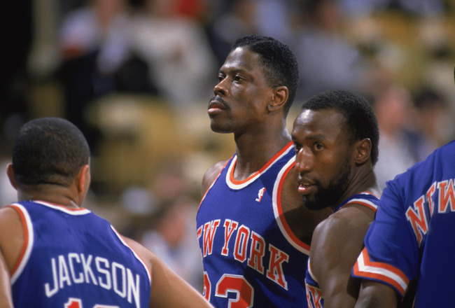 LOS ANGELES - 1987:  Patrick Ewing #33 of the New York Knicks stands with teammates Mark Jackson #13 and Trent Tucker #6 during an NBA game against the Los Angeles Lakers at the Great Western Forum in Los Angeles, California in 1987. (Photo by: Stephen Du
