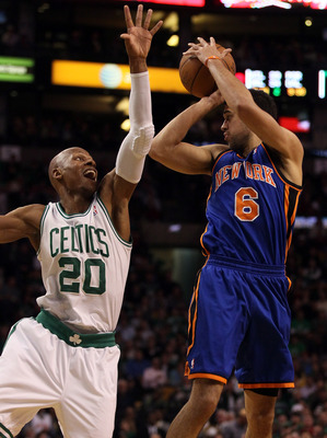 BOSTON, MA - APRIL 19:  Ray Allen #20 of the Boston Celtics tries to block a pass by Landry Fields #6 of the New York Knicks in Game Two of the Eastern Conference Quarterfinals in the 2011 NBA Playoffs on April 19, 2011 at the TD Garden in Boston, Massach