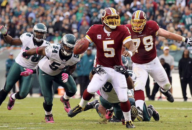 PHILADELPHIA - OCTOBER 03:  Donovan McNabb #5 of the Washington Redskins against the Philadelphia Eagles on October 3, 2010 at Lincoln Financial Field in Philadelphia, Pennsylvania. The Redskins defeated the Eagles 17-12.  (Photo by Jim McIsaac/Getty Imag