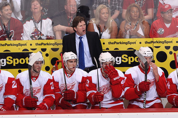 GLENDALE, AZ - APRIL 20:  Head coach Mike Babcock of the Detroit Red Wings reacts on the bench in Game Four of the Western Conference Quarterfinals against the Phoenix Coyotes during the 2011 NHL Stanley Cup Playoffs at Jobing.com Arena on April 20, 2011