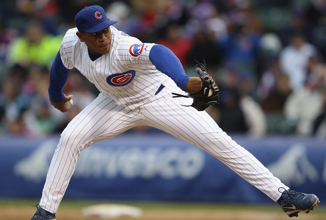 CHICAGO, IL - APRIL 20: Carlos Marmol #49 of the Chicago Cubs pitches in the 9th inning against the San Diego Padres at Wrigley Field on April 20, 2011 in Chicago, Illinois. The Cubs defeated the Padres 2-1 in 11 innings. (Photo by Jonathan Daniel/Getty I