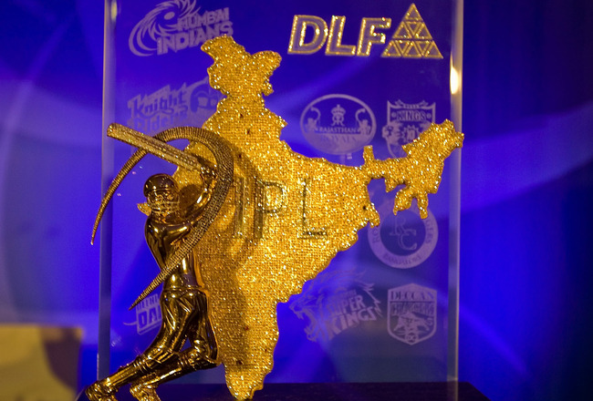MUMBAI, INDIA - JANUARY 19:  A view of the DLF Indian Premier League Trophy on display at the IPL Auction 2010 on January 19, 2010 in Mumbai, India.  (Photo by Ritam Banerjee/Getty Images)