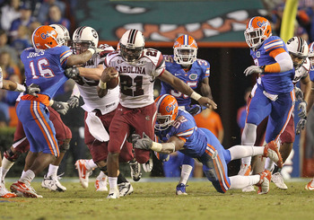 The Gators had a tough time bringing down Gamecocks' tailback Marcus Lattimore in 2010.