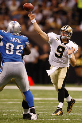 NEW ORLEANS - SEPTEMBER 13:  Quarterback Drew Brees #9 of the New Orleans Saints throws a pass against the Detroit Lions at the Louisiana Superdome on September 13, 2009 in New Orleans, Louisiana.  (Photo by Chris Graythen/Getty Images)