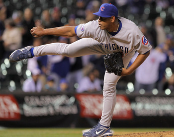 DENVER, CO - APRIL 16:  Pitcher Carlos Marmol #49 of the Chicago Cubs works against the Colorado Rockies in the ninth inning at Coors Field on April 16, 2011 in Denver, Colorado. Marmol earned a save as the Cubs defeated the Rockies 8-3.  (Photo by Doug P