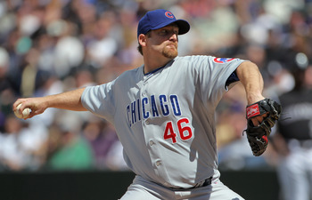 DENVER, CO - APRIL 17:  Starting pitcher Ryan Dempster #46 of the Chicago Cubs delivers against the Colorado Rockies at Coors Field on April 17, 2011 in Denver, Colorado.  (Photo by Doug Pensinger/Getty Images)
