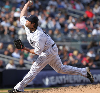 NEW YORK, NY - APRIL 03:  Joba Chamberlain #62 of the New York Yankees against the Minnesota Twins at Yankee Stadium on April 3, 2011 in the Bronx borough of New York City.  (Photo by Nick Laham/Getty Images)