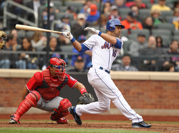 NEW YORK, NY - APRIL 10:  Angel Pagan #16 of the New York Mets in action against the Washington Nationals during their game on April 10, 2011 at Citi Field in the Flushing neighborhood of the Queens borough of New York City.  (Photo by Al Bello/Getty Imag