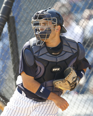 TAMPA, FL - FEBRUARY 21:  Jesus Montero #83 of the New York Yankees works out during the second day of full teams workouts at Spring Training on February 21, 2011 at the George M. Steinbrenner Field in Tampa, Florida.  (Photo by Leon Halip/Getty Images)