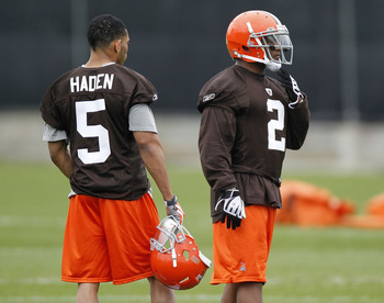 BEREA, OH - MAY 01: T.J. Ward #2 of the Cleveland Browns talks with Joe Haden #5 during rookie mini camp at the Cleveland Browns Training and Administrative Complex on May 1, 2010 in Berea, Ohio.  (Photo by Gregory Shamus/Getty Images)