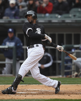 CHICAGO, IL - APRIL 07: Alexei Ramirez #10 of the Chicago White Sox takes a swing against the Tampa Bay Rays during the home opener at U.S. Cellular Field on April 7, 2011 in Chicago, Illinois. The White Sox defeated the Rays 5-1. (Photo by Jonathan Danie