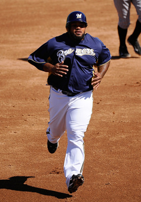 PHOENIX, AZ - MARCH 10:  Prince Fielder #28 of the Milwaukee Brewers plays against the Colorado Rockies during spring training baseball game at Maryvale Baseball Park on March 10, 2011 in Phoenix, Arizona.  (Photo by Kevork Djansezian/Getty Images)