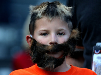 ARLINGTON, TX - NOVEMBER 01:  A young fan wears a fake beard in support of Brian Wilson #38 of the San Francisco Giants against the Texas Rangers in Game Five of the 2010 MLB World Series at Rangers Ballpark in Arlington on November 1, 2010 in Arlington,