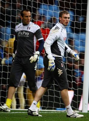 BIRMINGHAM, ENGLAND - FEBRUARY 05:  Mark Schwarzer and David Stockdale of Fulham look on ahead of the Barclays Premier League match between Aston Villa and Fulham at Villa Park on February 5, 2011 in Birmingham, England.  (Photo by Matthew Lewis/Getty Ima