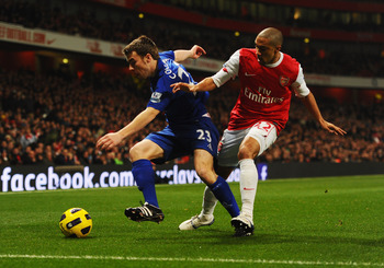 LONDON, ENGLAND - FEBRUARY 01:  Seamus Coleman of Everton holds off Gael Clichy of Arsenal during the Barclays Premier League match between Arsenal and Everton at the Emirates Stadium on February 1, 2011 in London, England.  (Photo by Mike Hewitt/Getty Im