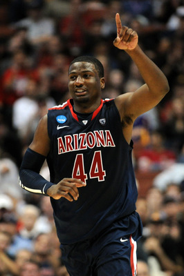 ANAHEIM, CA - MARCH 24:  Solomon Hill #44 of the Arizona Wildcats reacts after a play against the Duke Blue Devils during the west regional semifinal of the 2011 NCAA men's basketball tournament at the Honda Center on March 24, 2011 in Anaheim, California