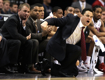 LOS ANGELES, CA - MARCH 10:  Head coach Sean Miller of the Arizona Wildcats calls out while taking on the Oregon State Beavers in the first half in the quarterfinals of the 2011 Pacific Life Pac-10 Men's Basketball Tournament at Staples Center on March 10