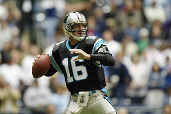 IRVING, TEXAS - OCTOBER 13:  Quarterback Chris Weinke #16 of the Carolina Panthers throws a pass during the NFL game against the Dallas Cowboys at Texas Stadium on October 13, 2002 in Irving, Texas.   The Cowboys defeated the Panthers 14-13.  (Photo by Ro