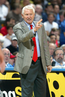 LOS ANGELES, CA - JANUARY 20: Arizona Wildcats head coach Lute Olson reacts in the second half against the UCLA Bruins at Pauley Pavilion during the game on January 20, 2007 in Los Angeles, California. UCLA defeated Arizona 73-69. (Photo by Jeff Gross/Get