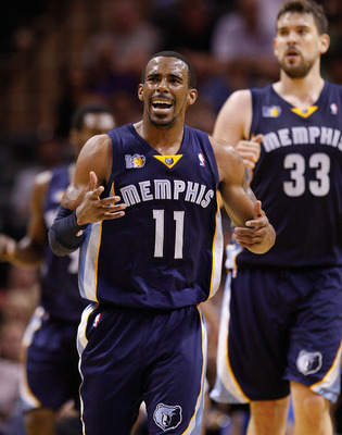 SAN ANTONIO, TX - APRIL 20:  Guard Mike Conley #11 of the Memphis Grizzlies reacts in Game Two of the Western Conference Quarterfinals in the 2011 NBA Playoffs on April 20, 2011 at AT&T Center in San Antonio, Texas.  NOTE TO USER: User expressly acknowled
