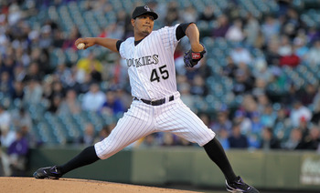 DENVER, CO - APRIL 05:  Starting pitcher Jhoulys Chacin #45 of the Colorado Rockies delivers against the Los Angeles Dodgers at Coors Field on April 5, 2011 in Denver, Colorado.  (Photo by Doug Pensinger/Getty Images)