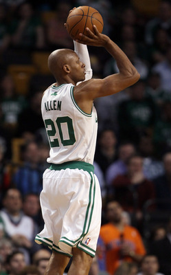 BOSTON, MA - APRIL 19:  Ray Allen #20 of the Boston Celtics shoots a three point basket against the New York Knicks in Game Two of the Eastern Conference Quarterfinals in the 2011 NBA Playoffs on April 19, 2011 at the TD Garden in Boston, Massachusetts. T