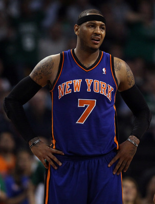 BOSTON, MA - APRIL 19:  Carmelo Anthony #7 of the New York Knicks reacts to a call in the second half against the Boston Celtics in Game Two of the Eastern Conference Quarterfinals in the 2011 NBA Playoffs on April 19, 2011 at the TD Garden in Boston, Mas